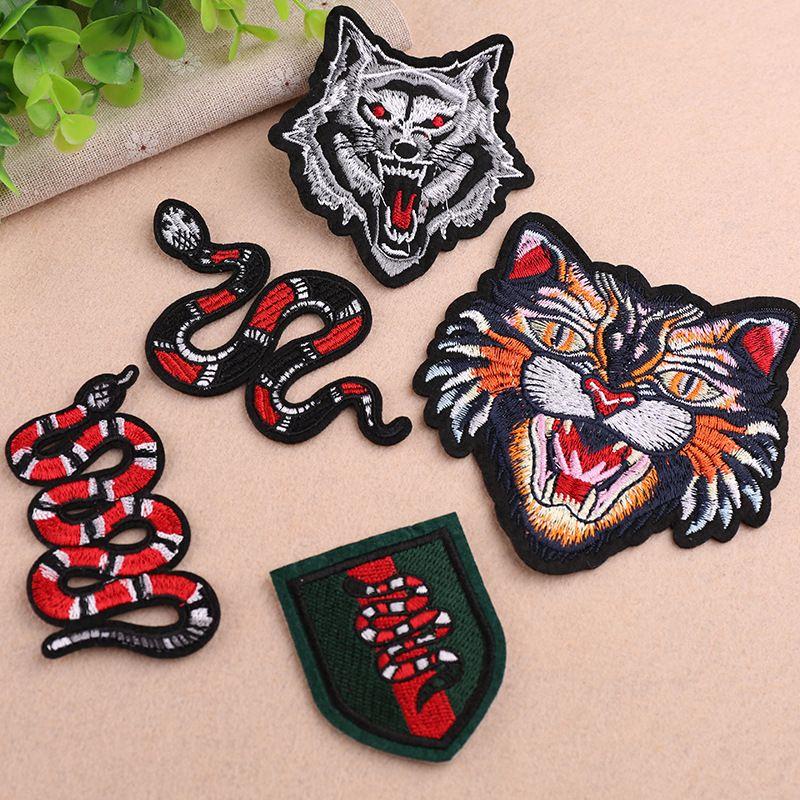 patchs brodés de serpents pour vestes, insignes de loup brodés appliques tigre pour jeans, patchs d'animaux pour vêtements A201
