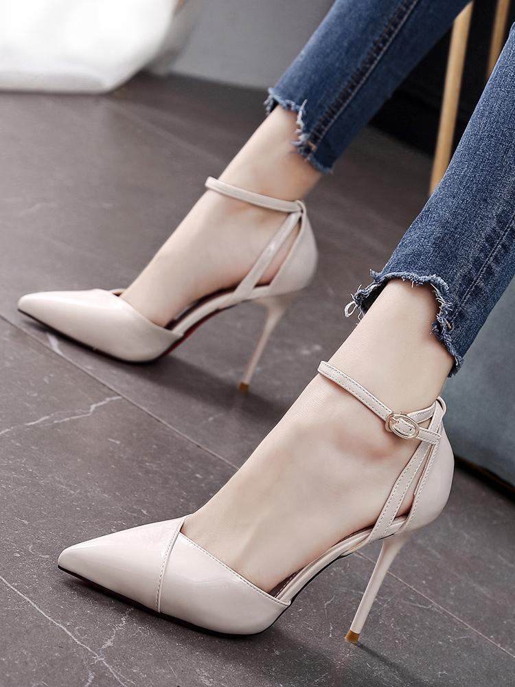 Current2019 Слово Одна пряжка Принесите туфли на высоких каблуках женщина штраф с 10см Single Root Осеннее Sexy Joker Sharp обуви