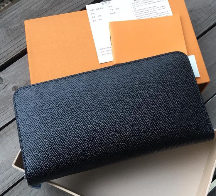 Дизайнер мужской Бизнес бумажники Роскошные женщины руки сумка Человек Формальное кошелек Мода Классический черный кошелек высокого качества Plain бумажники