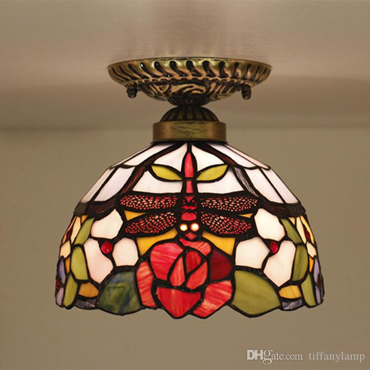 8 Inch Glass Red Dragonfly Ceiling Lamp for Bedroom Retro Balcony Bar Restaurant Decorative Glass Flowers Pattern Shade Ceiling Light