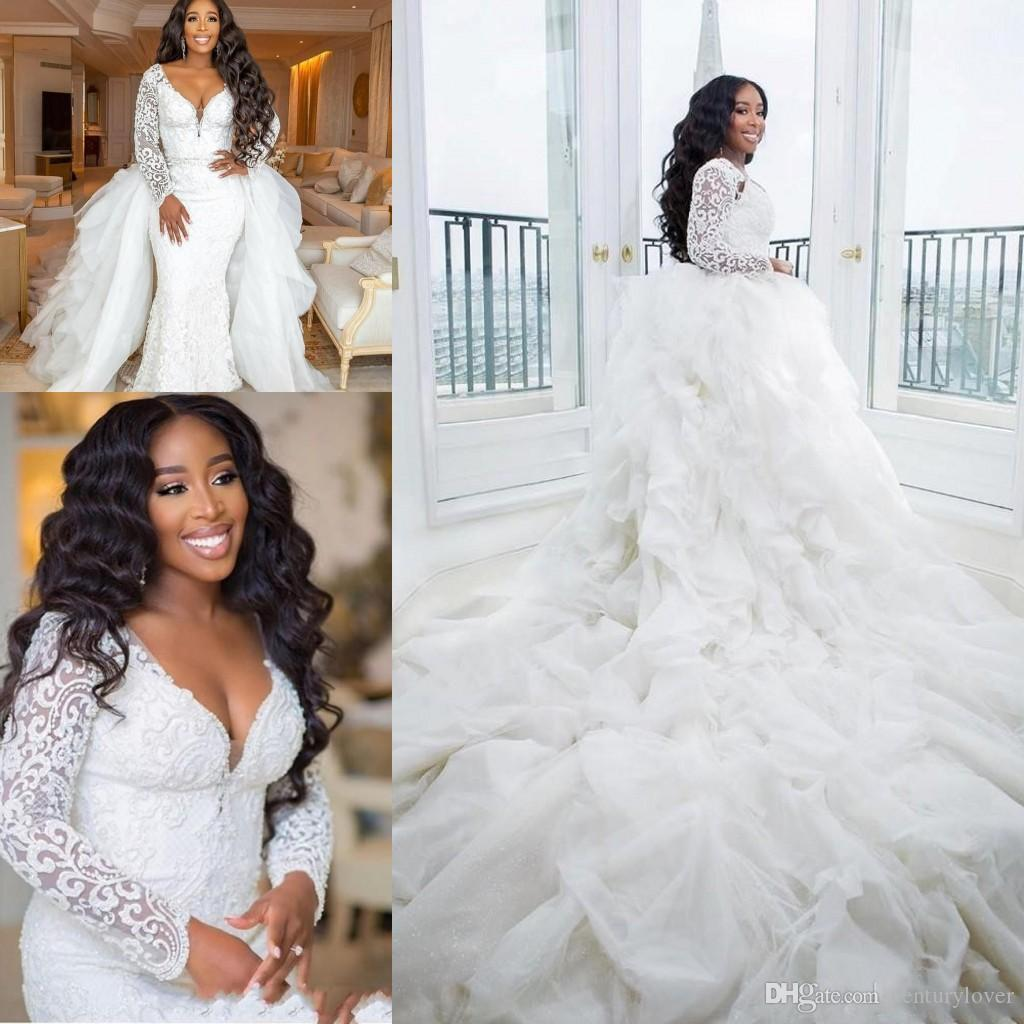 New African Black Girl Mermaid Wedding Dresses Sweetheart Lace Appliques Long Sleeves Long Detachable Train Plus Size Formal Bridal Gowns Lace Wedding Gowns Long Sleeved Wedding Dresses From Centurylover 321 61 Dhgate Com