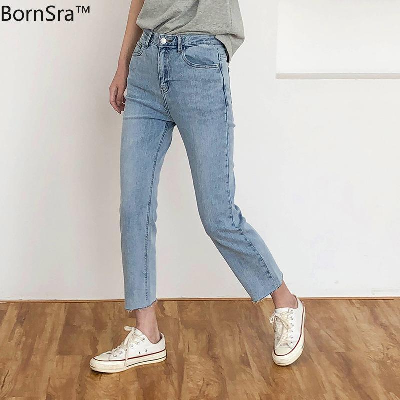Bornsra 2020 Corea pantalones casuales Suavizante falsos lavada Cremalleras Luz del tobillo de longitud de los pantalones vaqueros de las mujeres de los tejanos de algodón