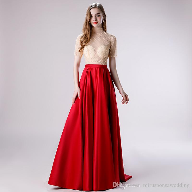 M4007 Sexy Tulle and Satin A-Line Burgundy Evening Dress Pearls Beading Winter Party Dress Floor Length Cheap Plus Size Formal Dresses