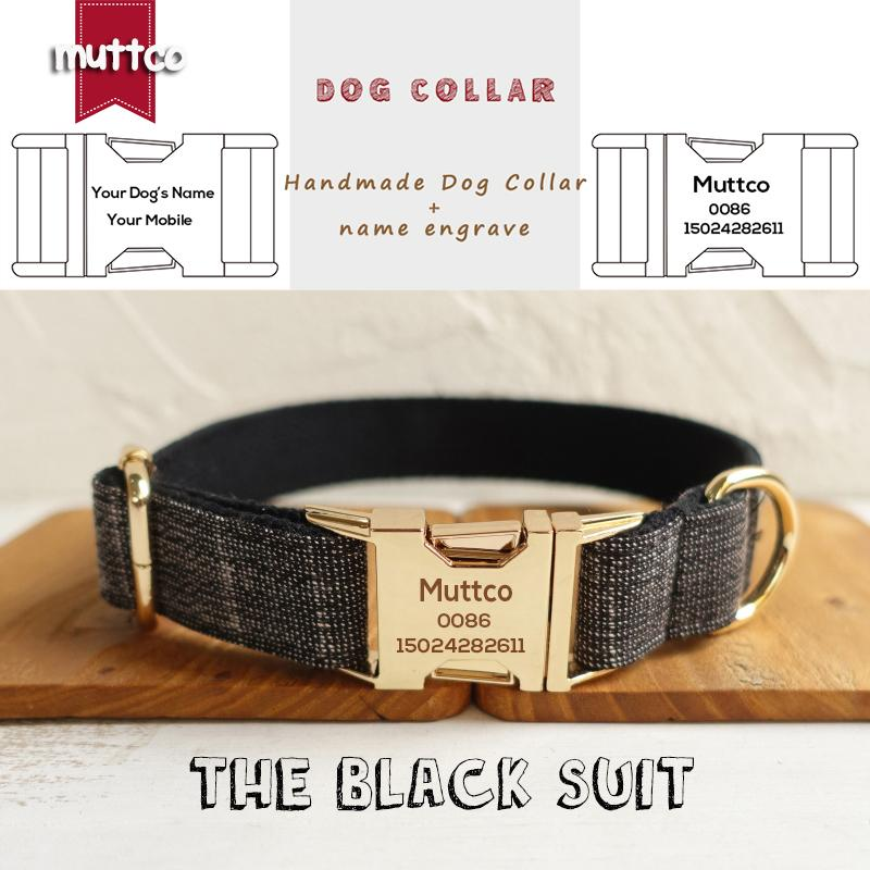 MUTTCO vendita al dettaglio di auto-progettazione bel guinzaglio del cane a mano IL VESTITO NERO collare di cane incisione disegno 5 taglie UDC007J