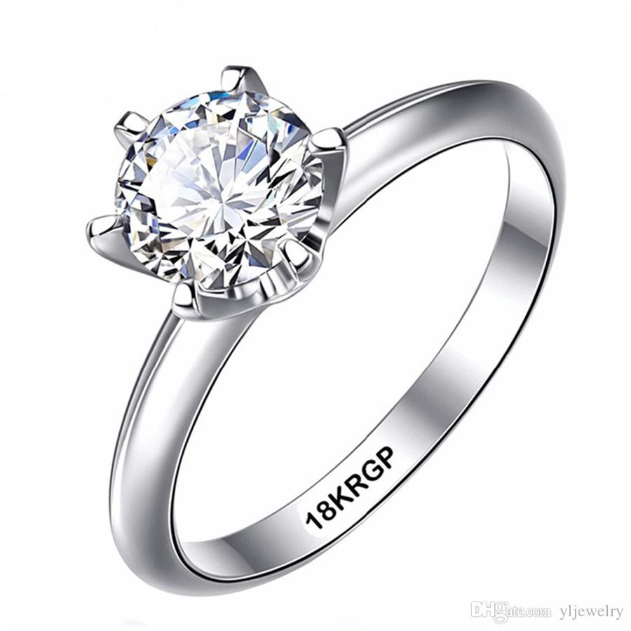 Real Pure Gold Ring 18KRGP Stamp original Rings Set 1 Ct 6mm CZ Diamant Wedding Rings Jewelry Gift For Women Wholesale SR168