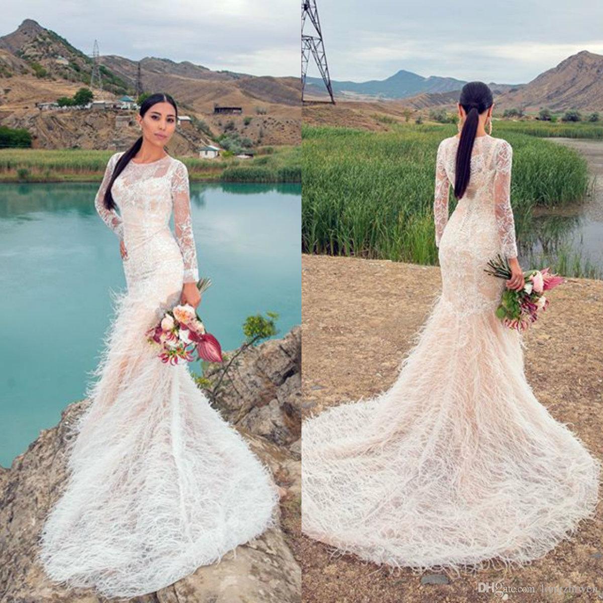 2020 manga longa sereia vestidos de noiva Applique Lace Feather vestidos de noiva Trem da varredura vestidos de casamento Vestidos de novia