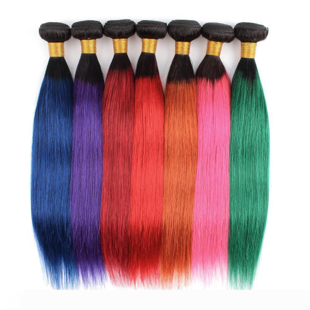 Kisshair는 폐쇄 블루 그린 레드 핑크 퍼플 머리에 화려한 머리 번들 처녀 브라질 인간의 머리 확장을 씨실 염색 사전