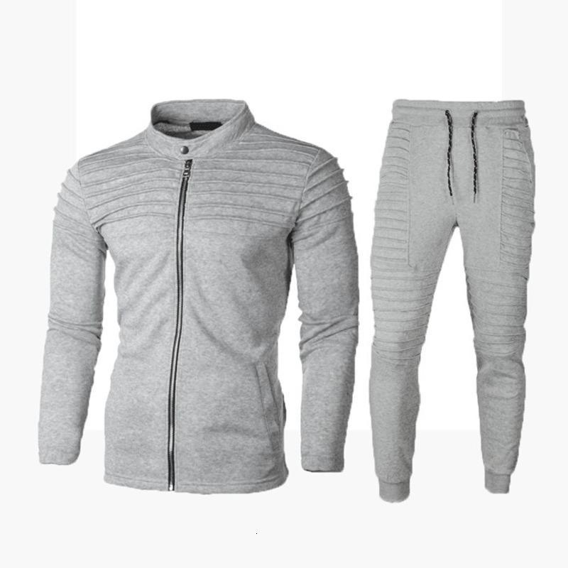Pantaloni della tuta due pezzi set felpa uomo Outfit autunno della molla Sportswear Casual Male Zipper pantaloni tuta giacca 2 Pezzi