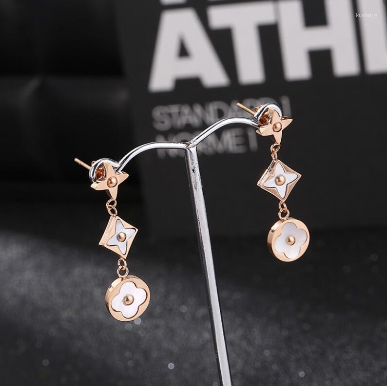 jewelry titanium steel charm earrings shell rose gold color clover earrings for women hot fashion