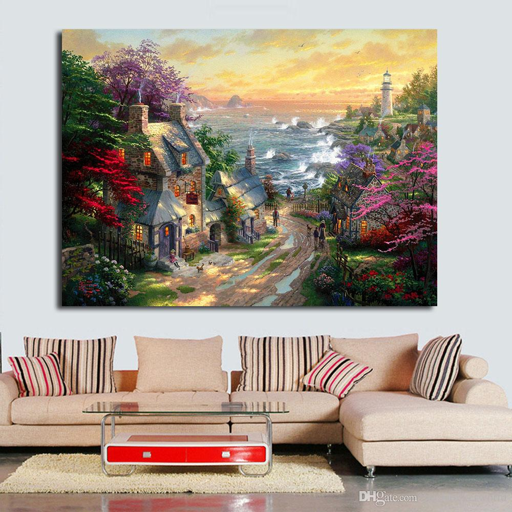 1 Piece Island Village Oil Painting Wall Art Canvas Decorative Living Room Painting Wall Painting Picture No Frame