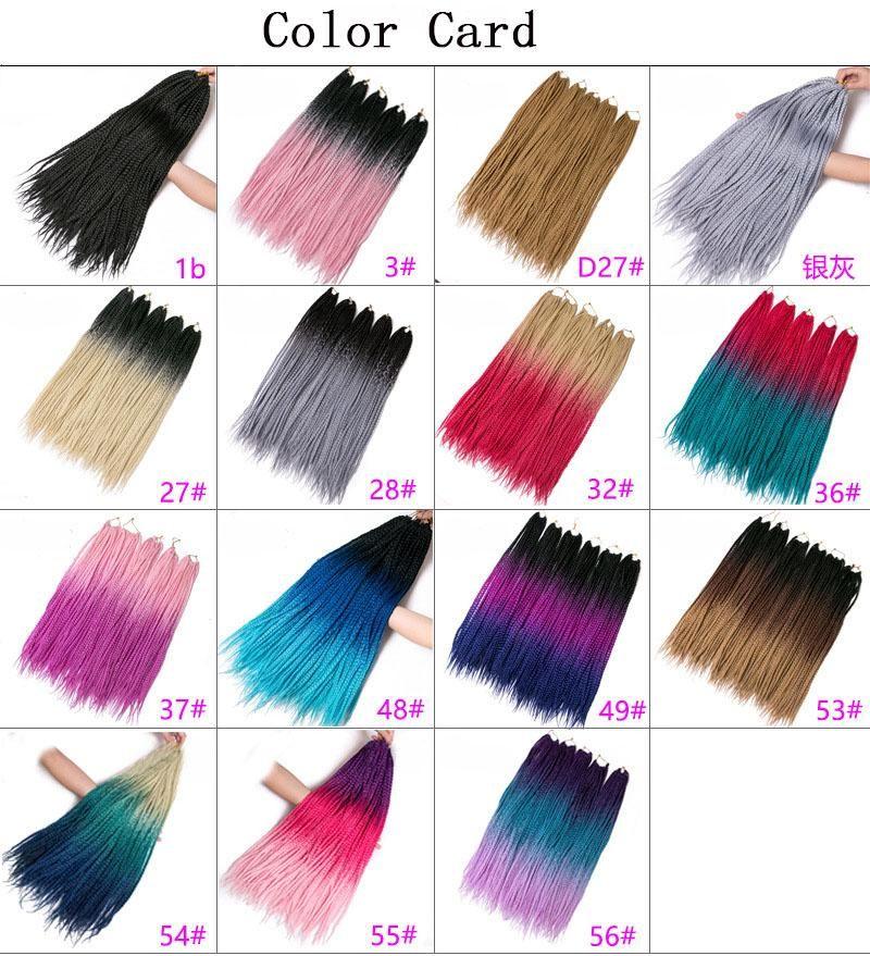 Hot! Crochet braids 24 inch box braid 22 Roots/pack Ombre Synthetic Braiding Hair extension Kanekalon Fiber Bulk braid for Black Women