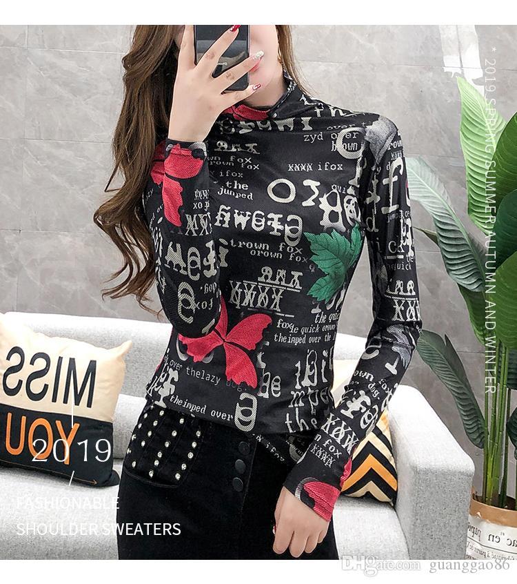 Outono e 2019 novos produtos europeus inverno t-shirt do estilo externa feminina camisa top de mangas compridas de gola alta camisa de assentamento cor temperamento