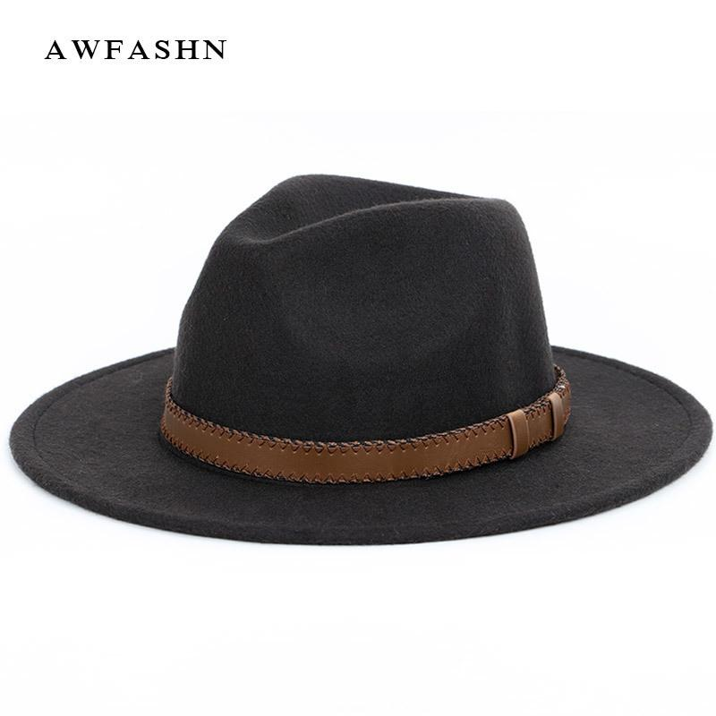 Super breiter Rand Fedora, Wolle Pork Pie Boater flachen Top Hut für Frauen Herren breiter Krempe Vintage Hut Fedoras Gambler Hat D19011102