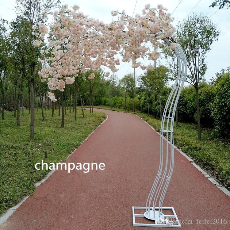 NEW White cherry blossom tree Road Cited Simulation Cherry Flower with metal Arch Frame For Party Centerpieces Decoration