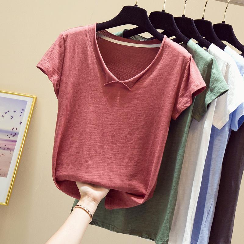 T-shirt Mulheres Verão 2020 Casual V-Neck solta mangas curtas brancas inferior da moda coreana senhoras minimalistas Tops camiseta