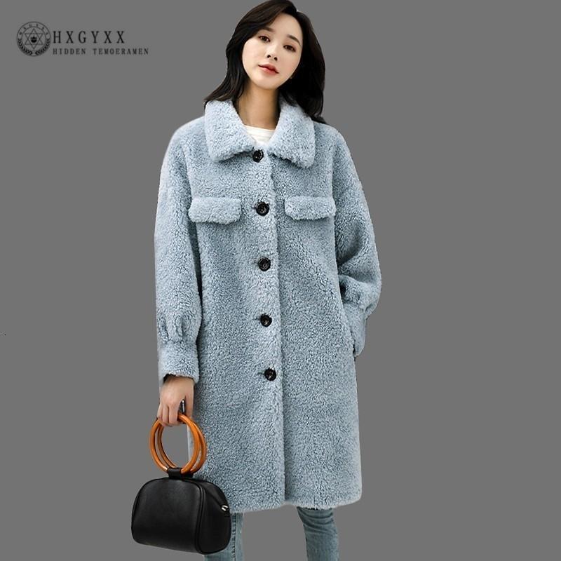 Real Шубы Стрижка полушубке зимнее пальто женщин 2019 овечьей шерсти Корейская однобортная Толстая Теплая Длинная Шинель OKD574 SH190930