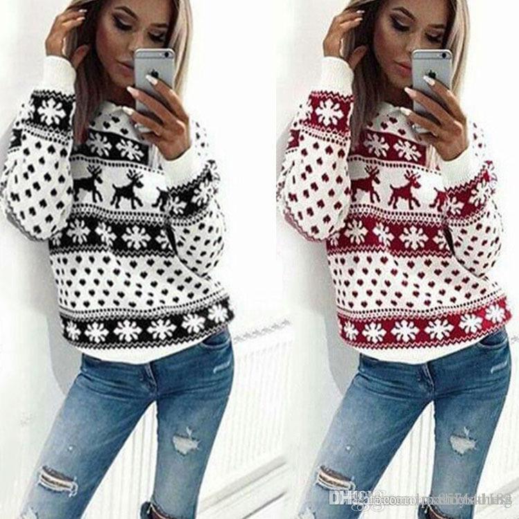 Женщины леди джемпер свитер пуловер топы пальто рождественские зимние женские женские теплые короткие свитера одежда F02
