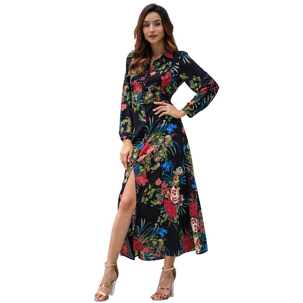 Großhandel Modische Damen Kleid 19 Frühling Neue Langärmelige Böhmische  Gedruckt Mittlerer Länge Kleid Sexy Split Langes Kleid S XL HNY19 Von