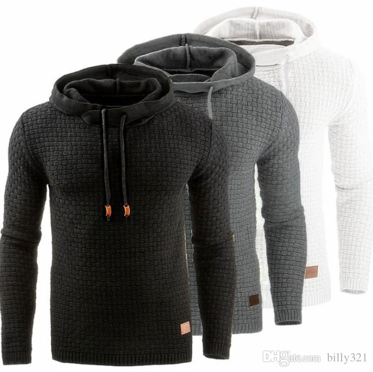 New European and American men Jacquard sweater long sleeves hoodies warm colored hooded sportswear body-building Sweater Exercise suit