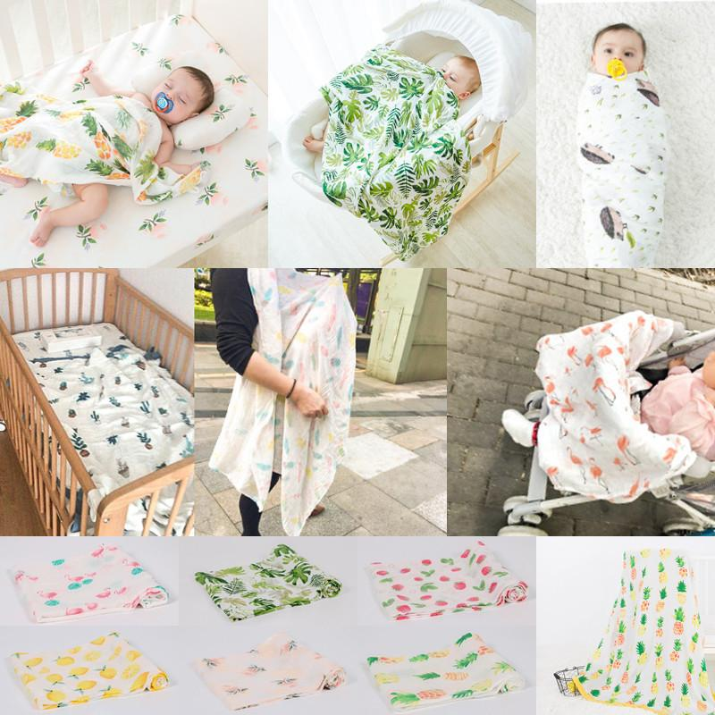 PUDCOCO Soft Large Cotton Baby Blanket Breathable Muslin Swaddle Squares Bamboo Fiber Blanket Infant Wrap Towel 120x120 cm