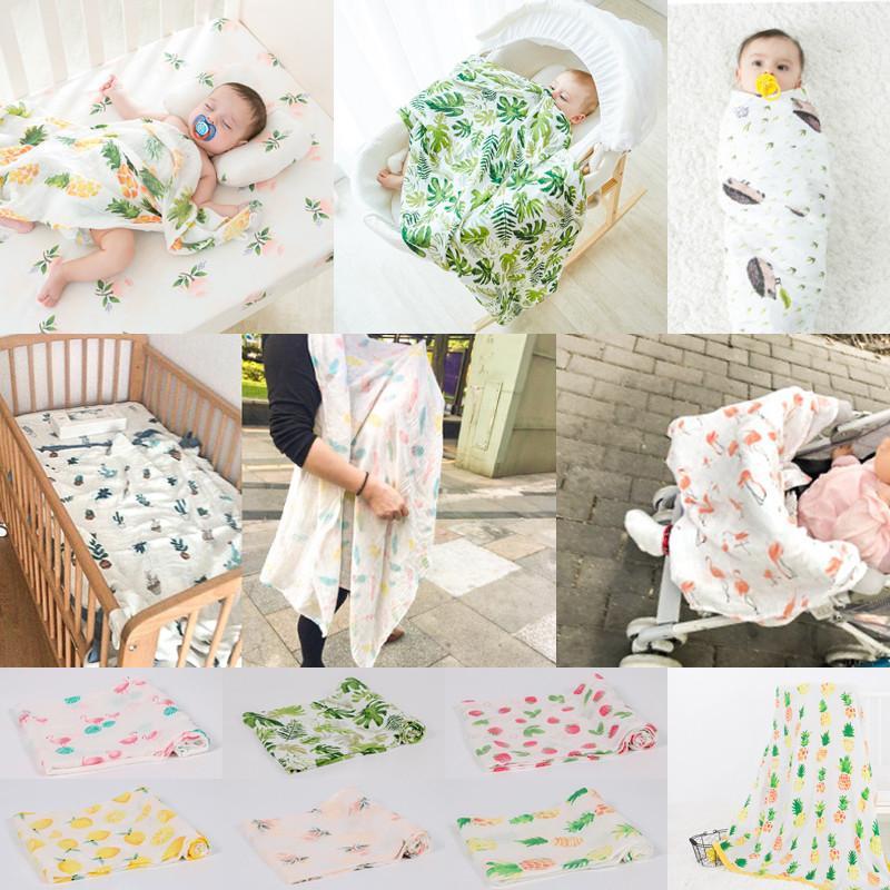 PUDCOCO macias cobertor grande Algodão respirável Muslin Swaddle Squares fibra de bambu cobertor infantil Enrole Toalha 120x120 cm