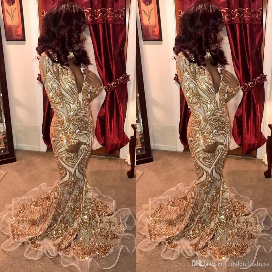 Vintage Gold Sequins Prom Dresses 2019 Sweep Train Sexy Long Sleeve Flounced Trim Mermaid Plunging Evening Gowns