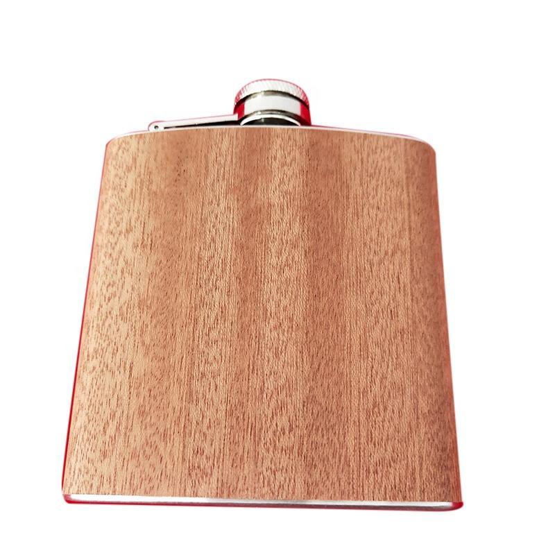 Logo Personalizar Mini bolsillo de acero inoxidable Hip Frasco de madera de grano de madera a prueba de fugas Frasco de licor exterior