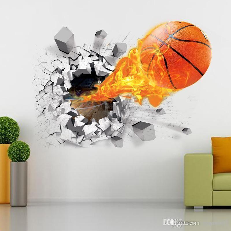 home decor 3D basketball wall sticker decals football wall stickers art sports pvc poster basketball wall murals for kids room