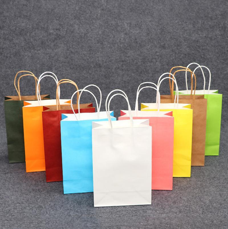 Bolsa de regalo de papel Bolsa de papel Kraft multifunción bolsas de la compra con asas 21x15x8cm