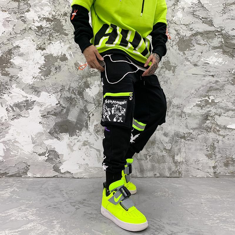 Lettre Pantalons Harlan Japonais Coréen Imprimer lâche Joggers Hip Hop hommes Sweatpants Casual Cargo Pants Baggy piste