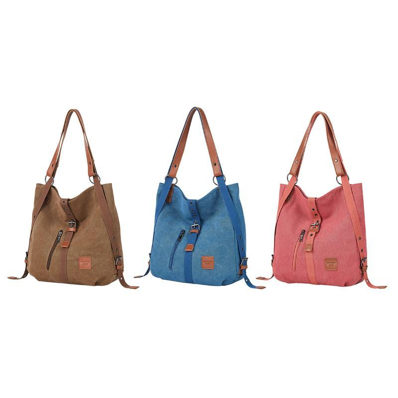 Multifunctional Women Fashionable Solid Shoulder Bag Girls Simple Style Canvas Backpack Casual Backpack Phone Pouch Travel Bags