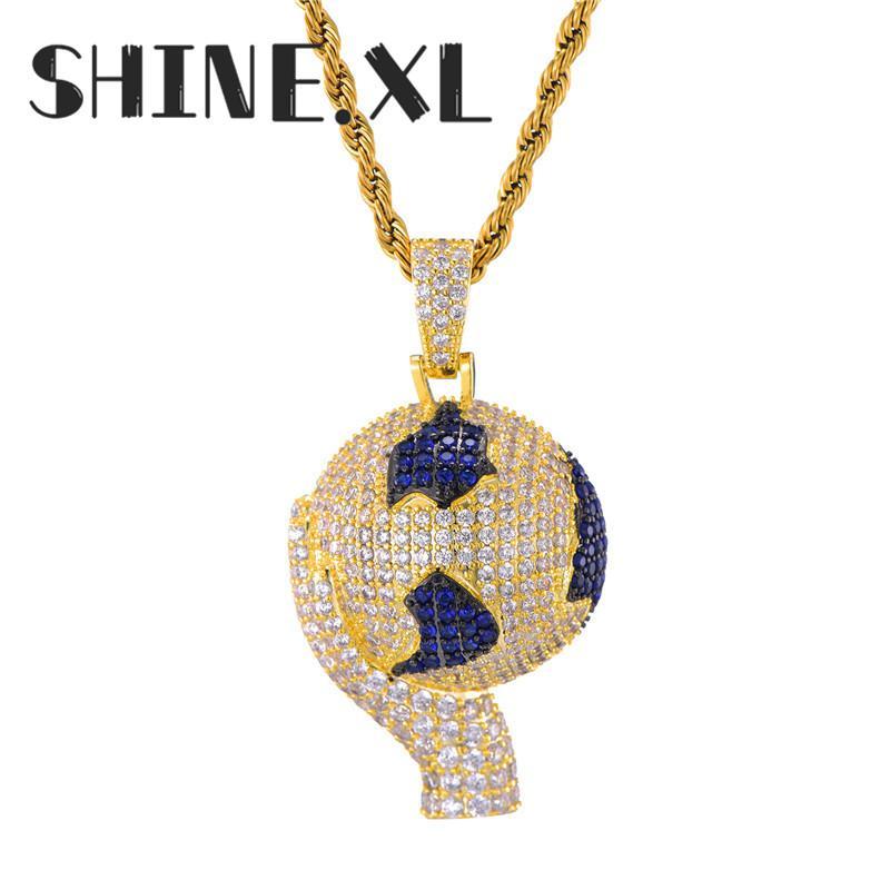 Plaqué or 18k Collier avec pendentif de basket-ball chaîne de corde en acier inoxydable Collier Femme Homme Sport Bijoux