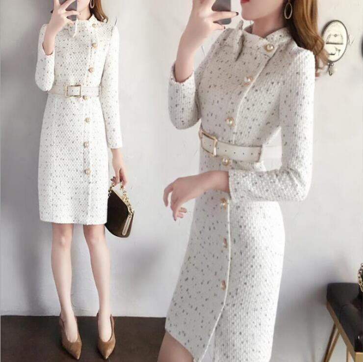 Gratis la llegada del otoño y el invierno las mujeres pista envío nuevo y elegante vestido de tweed collar del arco de la manga larga de la moda femenina vestidos elegantes VESTIDOS
