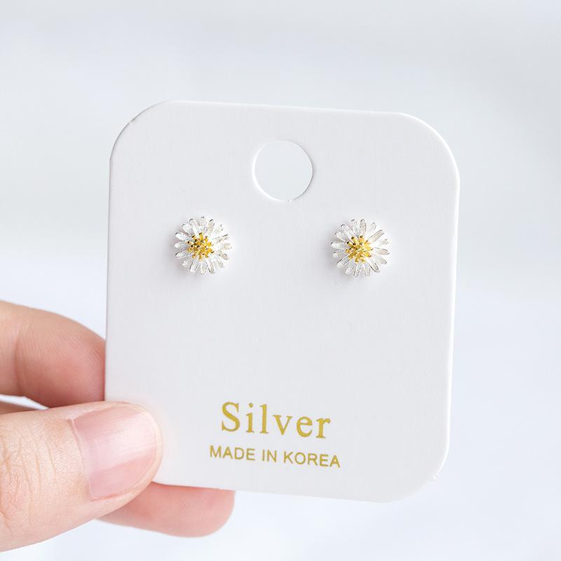 Stile coreano orecchini all'ingrosso di modo piccole margherite orecchini S925 Sterling Silver Sun Flower01
