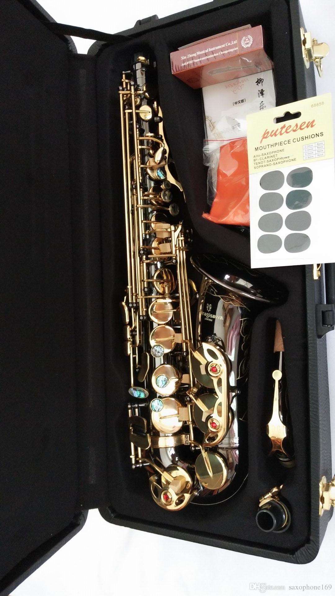 Fotografía real YANAGISAWA Saxofón alto A-991 Llave de oro Profesional Boquilla con estuche Super Play Sax de YANAGISAWA