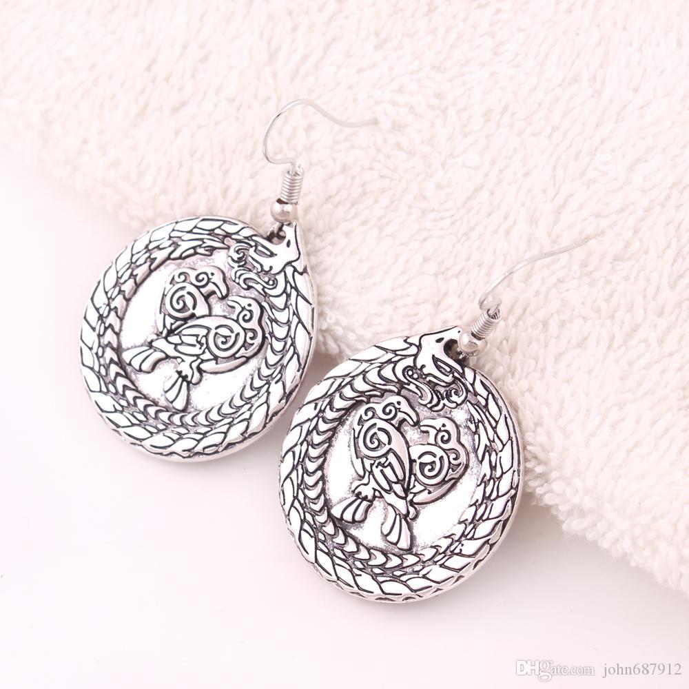 JF012 de la nueva joyería de la llegada de los animales de Viking dragón pendientes del encanto del diseño retro nórdica cuervos colgante pendientes para las mujeres