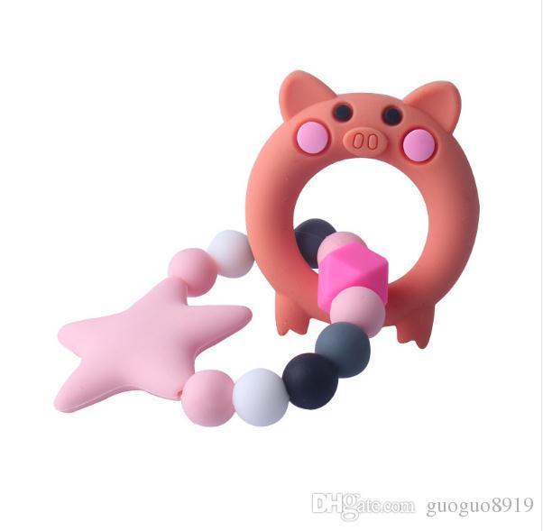 Food Grade Silicone Mordedor de Enfermagem Chocalho Brinquedo Estrela de Silicone Chew Teething Bebê Recém-nascido Dos Desenhos Animados chupeta