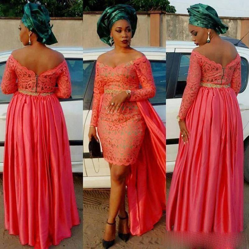 Aso Ebi style Vestidos De Novia African Lady dentelle robes de soirée à manches longues épaules détachable Jupe dos nu Prom Party Robes