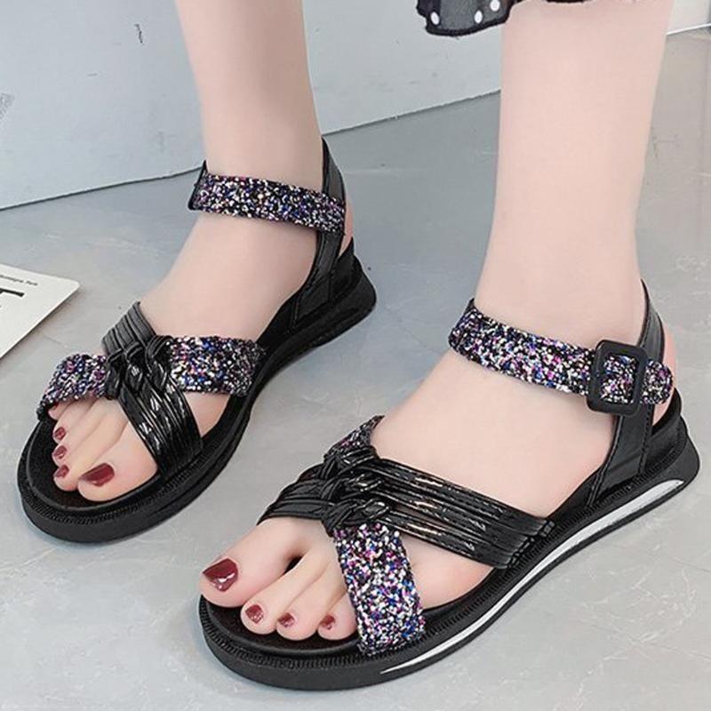 Mulheres Hot Summer Shoes de bling Sapatos Saltos lisos Wedding Feminino Praia Sandals grande tamanho do sapato Casual # 0510