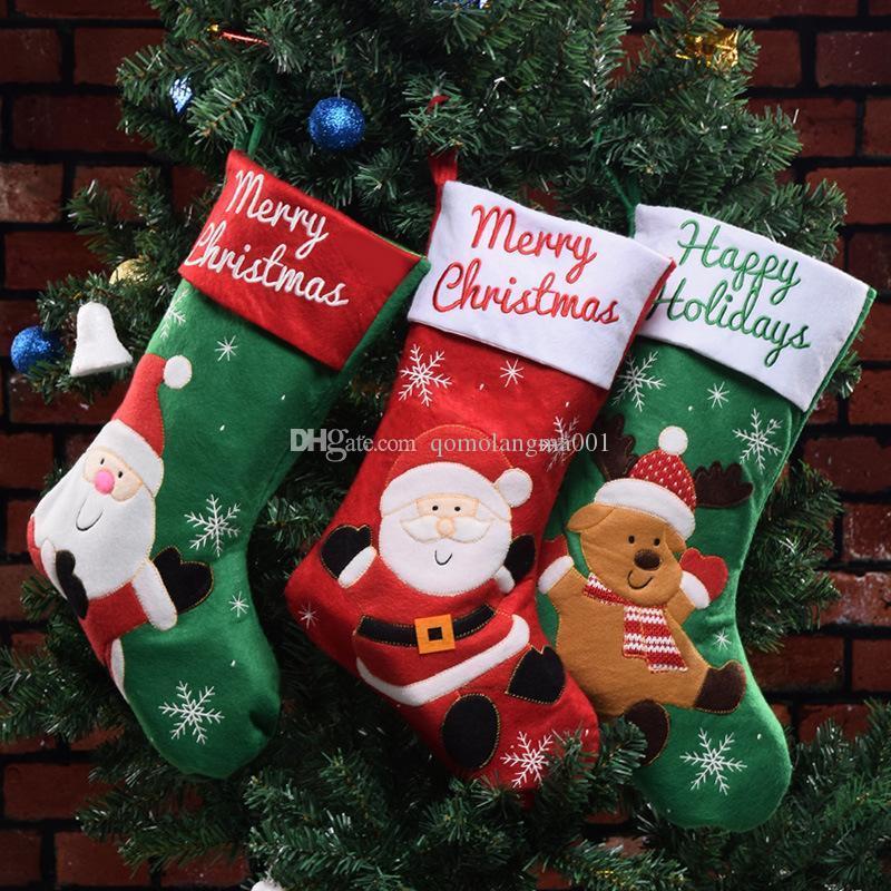 Christmas Stockings Bag Santa Claus Reindeer Christmas Socks Hangs Candy Gift Bags Christmas Tree Decorations Home Decor Drop Ship