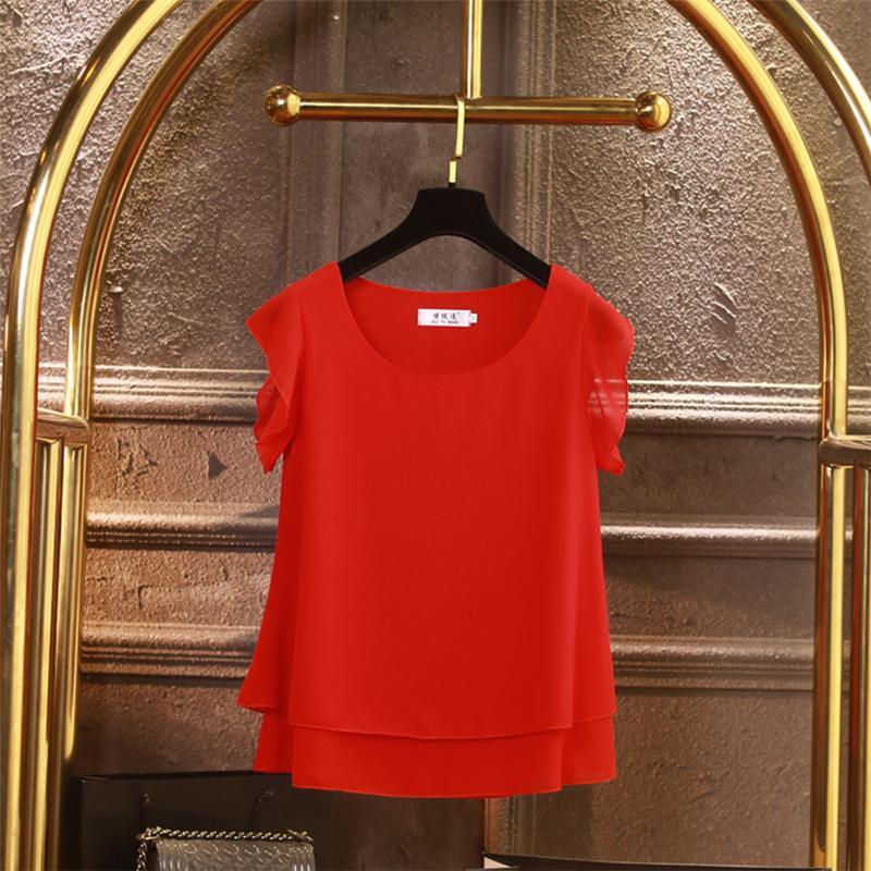 Moda Marka Kısa kollu Kadın bluz Yaz Yeni şifon gömlek Şeffaf O-Boyun Casual bluz Artı boyutu 6XL Gevşek Kadın CX200616 Tops