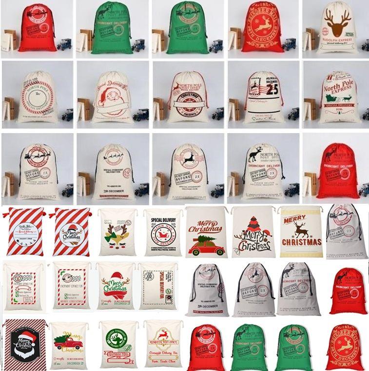 Hot Christmas Drawstring cartoon Canvas bags Large Santa Claus Reindeers Monogramable Christmas kids Gifts Sack Bags Xmas bag Outdoor Bags