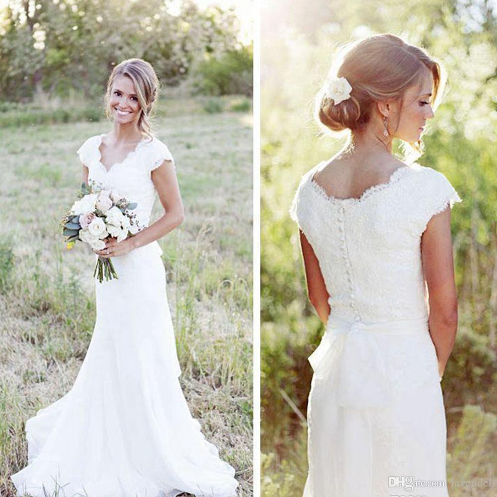 Großhandel Landhausstil Boho Vintage Spitze Brautkleider Elegante  Flügelärmeln Modest Brautkleid Brautkleider Robe De Mariee Vestido De Novia  Von