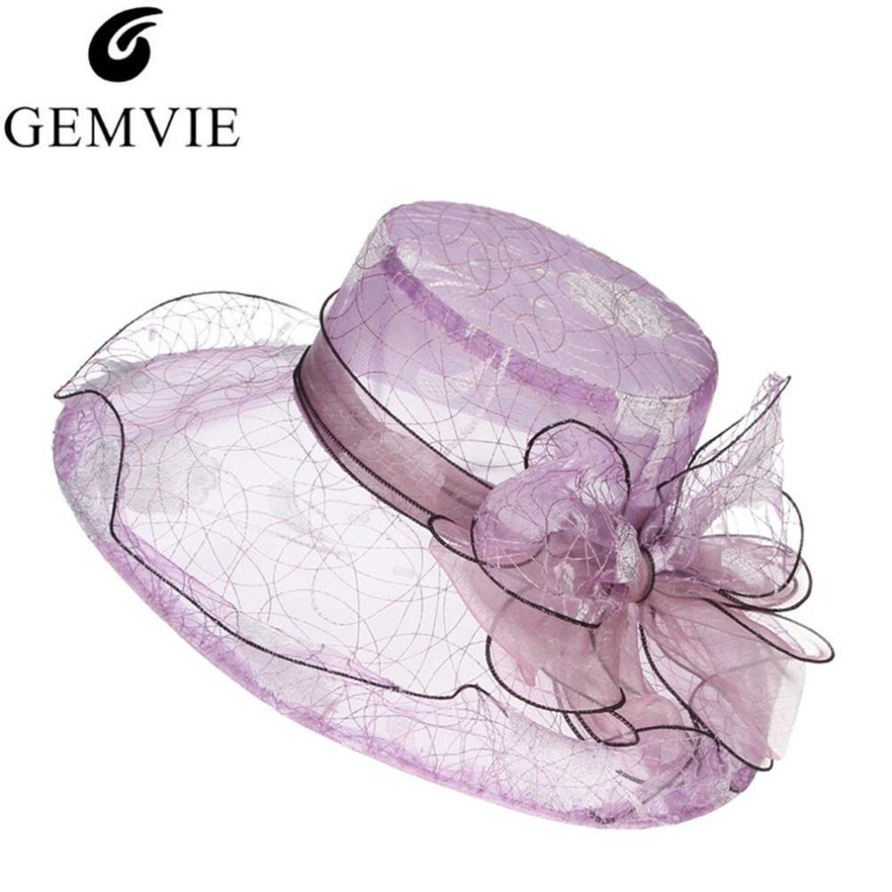 Fashion Bowknot Wedding Fedora For Women Organza Gauze Large Wide Brim Sun Summer Hat Flat Elegant Ladies Church Hats D19011103