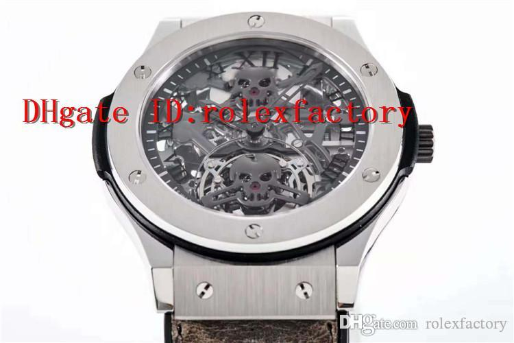 2019 Top Luxury Mens Watch Skeleton skull Dial Swiss real Tourbillon Automatic 28800 vph 316L Steel Case 80 hours power reserve Sapphire