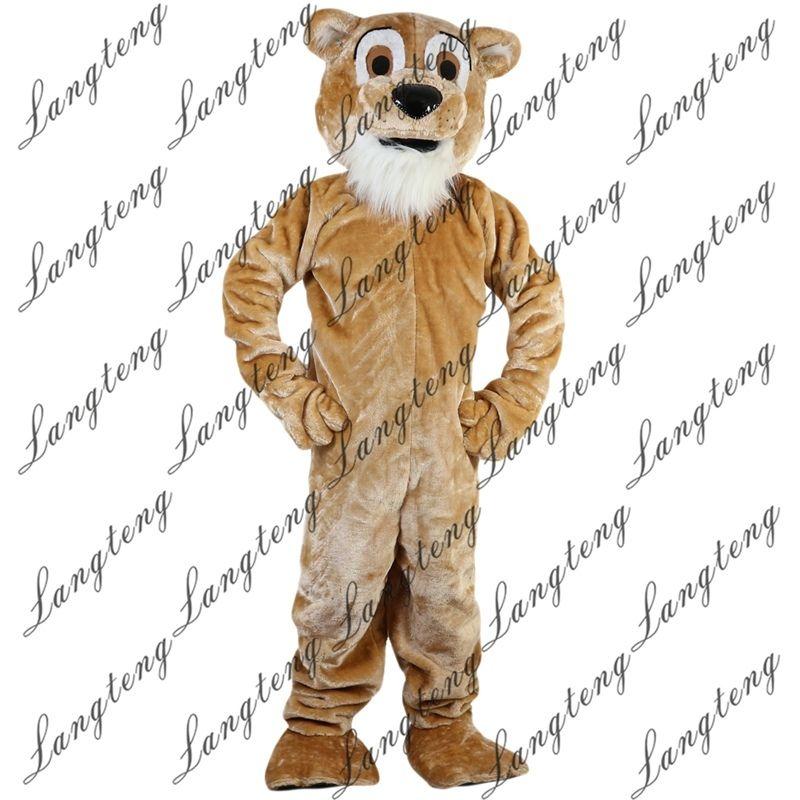 2018 nuevos trajes de la mascota del león de color amarillo-marrón de alta calidad para adultos circo navidad de Halloween traje elegante traje de libre Shipping112