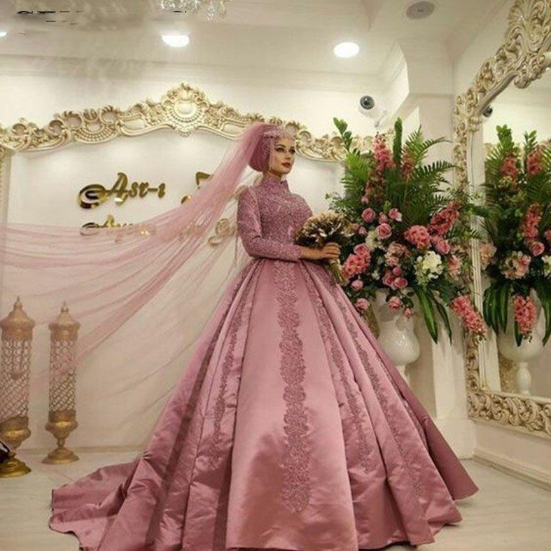 Acheter La Poussiere Rose Islamique Musulman Arabe Robe De Mariee Avec Manches Longues Col Haut Robe De Bal Dubai Kaftan Arabe Robes De Mariee En