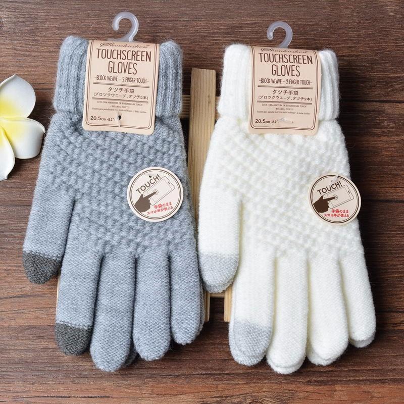 New luvas do toque de tela Mulheres Homens Knitting inverno quente estiramento Knit Luvas de lã Dedo completa Luvas Feminino Crochet Mitt Luvas