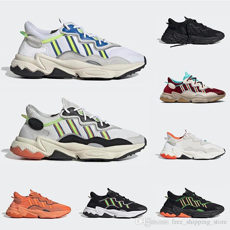 New ozweego men women casual shoes reflective triple black Cloud white Solar Red Neon Green pride breathable sneakers outdoor walking