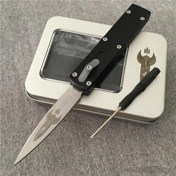 cohete de la lámina D2 T6061 mango de aluminio de la aviación de doble acción de cobro de camping plegable táctico cuchillos de hoja fija navidad cuchillo del regalo